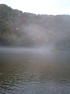 紅葉のダム湖