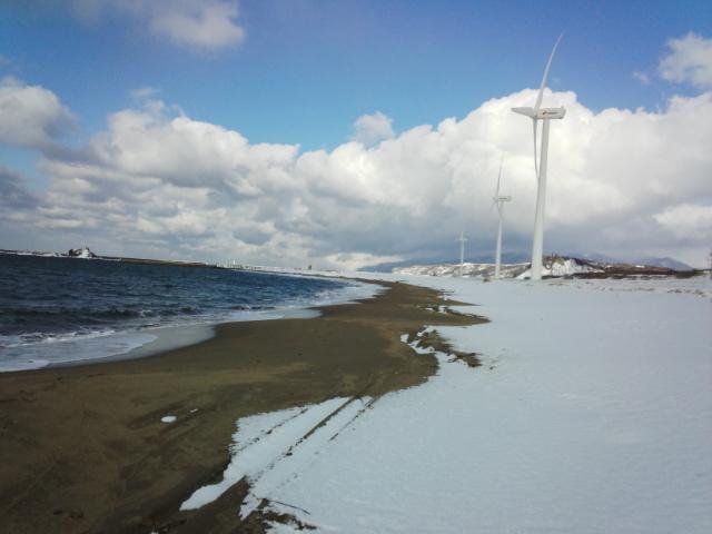 漁港で1本、風車で2本